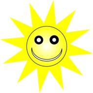 Smiling summer sun clipart