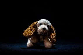 long eared dog, cute soft toy in darkness
