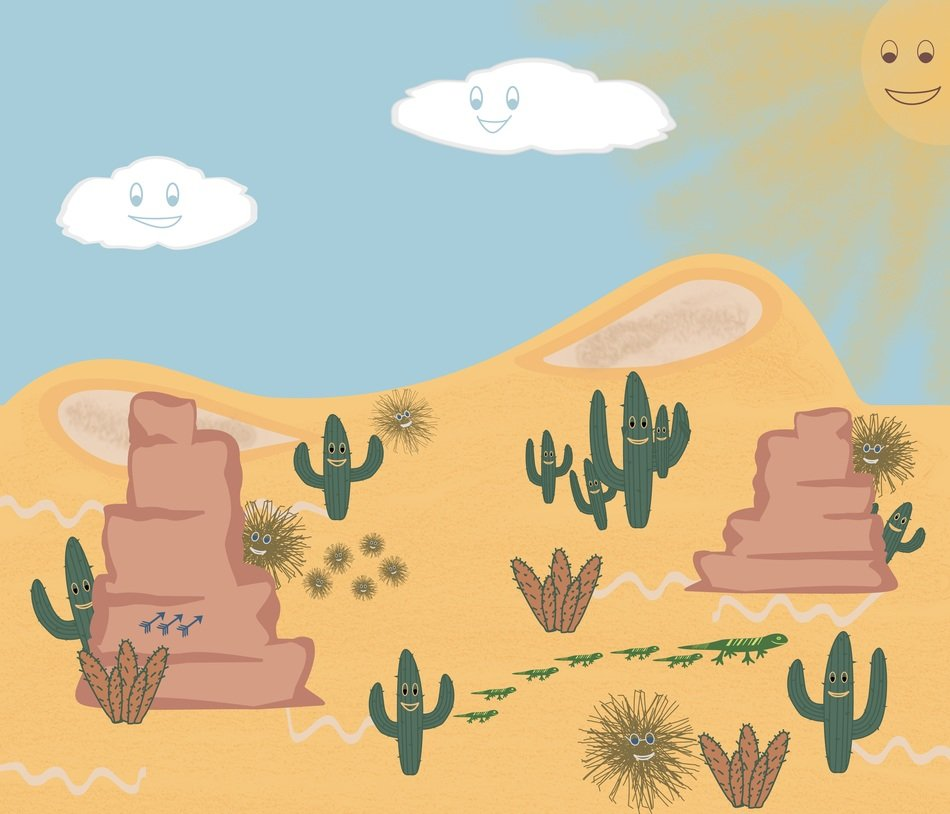 drawing of a desert with green cacti