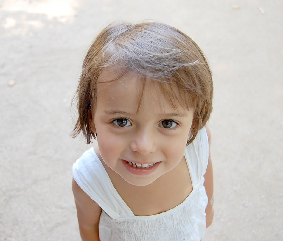 little girl with a short haircut