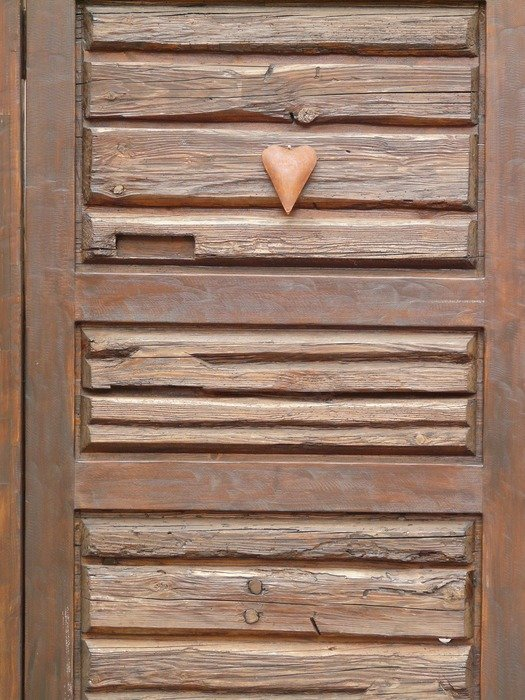 heart on a wooden door