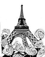 Eiffel Tower at rose flowers, Drawing