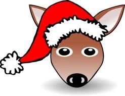 Deer with the Santa hat clipart
