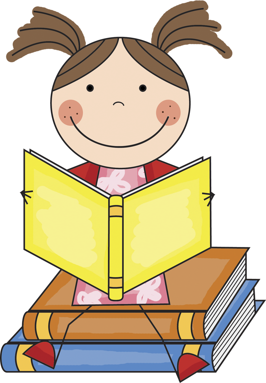 Girl reading books clipart free image