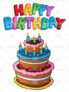 Colorful cake for Happy Birthday clipart