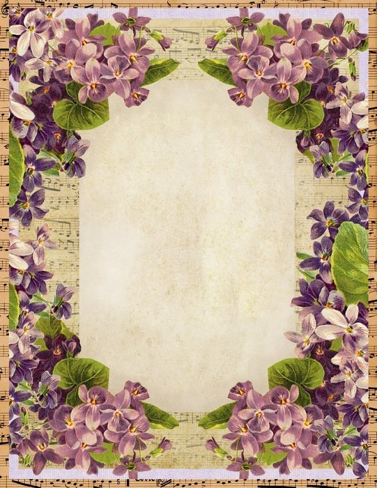 Colorful vintage frame with the flowers clipart