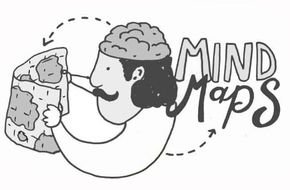 Mind Maps, cartoon man with open brain looking at map, drawing