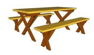 Folding Picnic Table Bench drawing