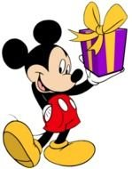 Mickey mouse with a gift as a graphic illustration