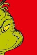 Colorful Grinch Face on the red background clipart