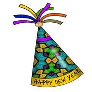 Colorful Happy New Year Party Hat Clipart