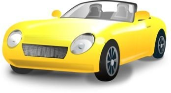 painted yellow car with round headlights