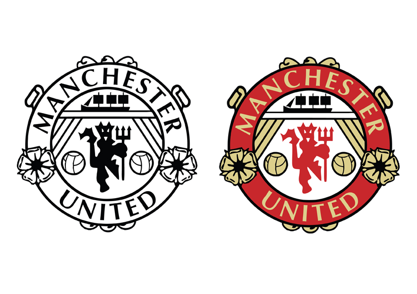 Manchester United Logo Black And White Drawing Free Image