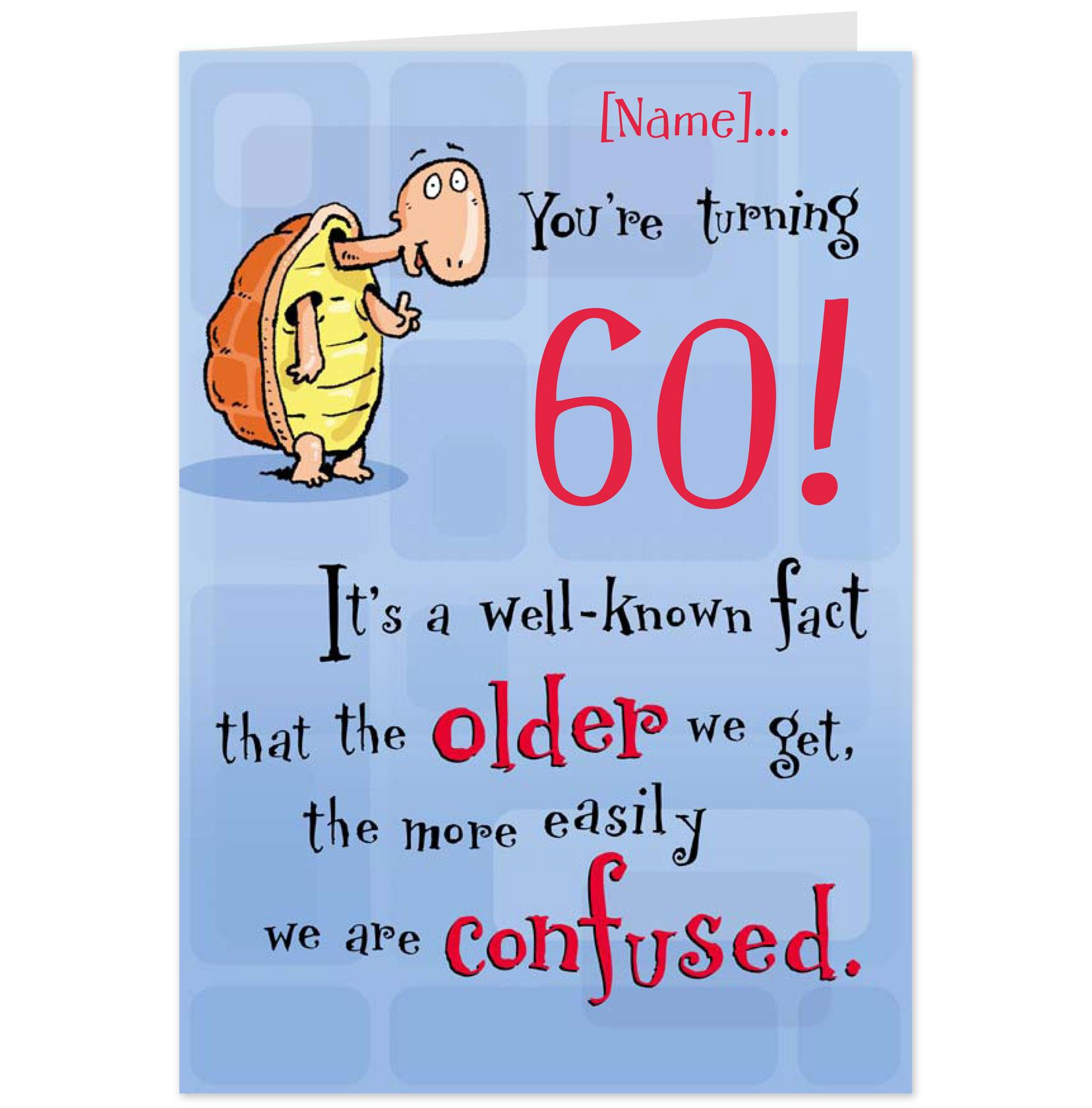 Sayings For 60th Birthday Card: Funny 60th Birthday Card Drawing Free Image