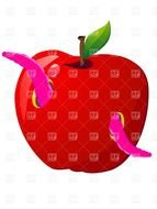 Clipart of Pink Worm And Red Apple