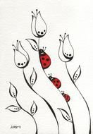 Lady Bug flowers Drawing