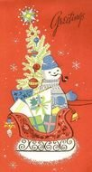 snowman and christmas tree on greeting card