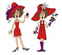 Red Hat Ladies Clip Art drawing
