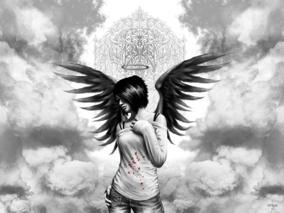 Black and white photo of the angel clipart