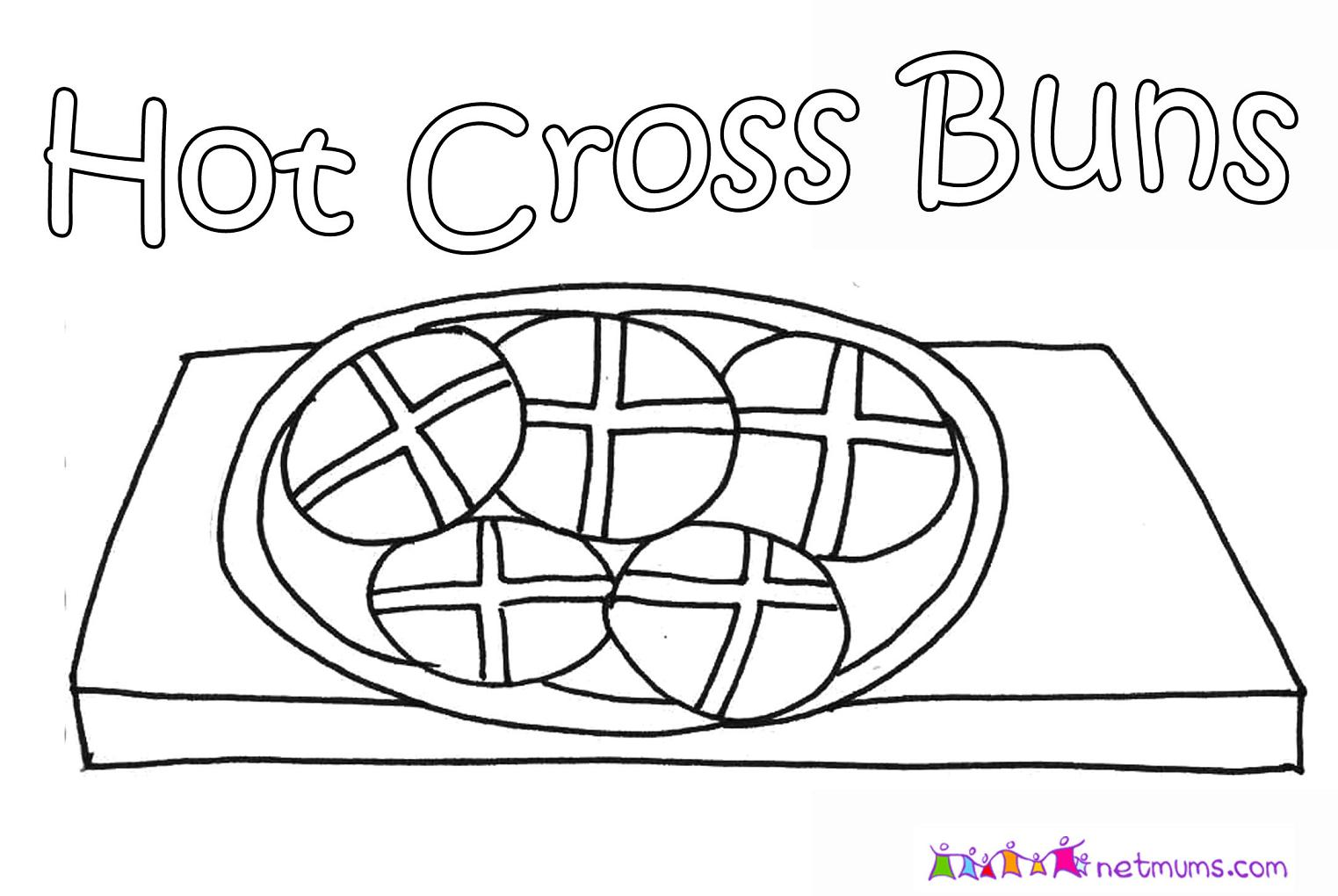 Hot cross buns colouring pictures