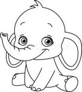 Baby Elephant Coloring Pages drawing