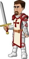 barehead Medieval Knight with sword, Clip Art