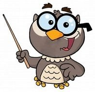 Cartoon Owl in glasses with pointer, Teacher