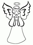 black and white drawing of an angel with wings and a halo