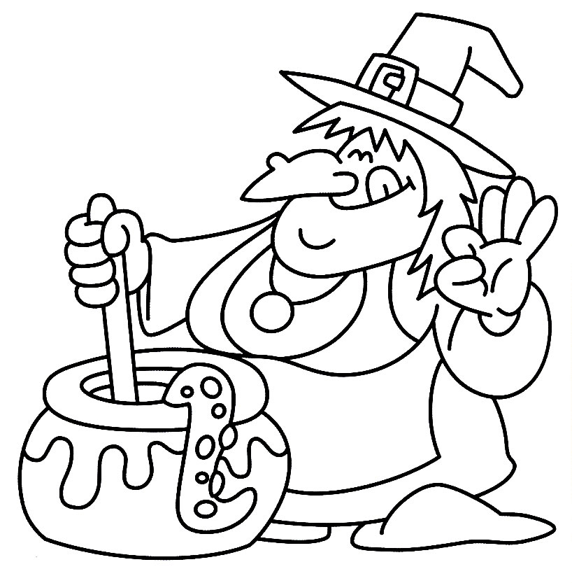 Witch Cooking Snake In Pot, Halloween Coloring Page Free Image Download