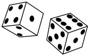 Clip Art of Black And White dices