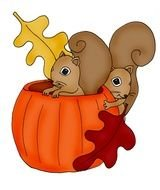 drawn two squirrels in a pumpkin