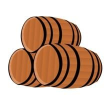 isolated wooden barrels