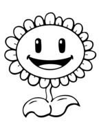 Black and white drawing of the Sunflower from Plants Vs Zombies clipart