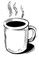 Black and white Clipart illustration of Coffee Cup