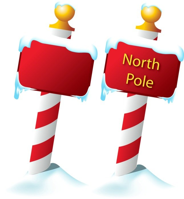 North Pole Sign with snow