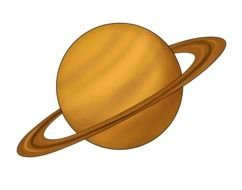 Saturn yellow planet with ring