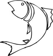 Black and white outline drawing of the fish clipart
