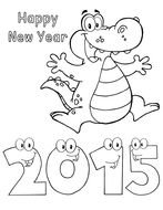 Black And White Drawing Of The Happy New Year 2015 Clipart