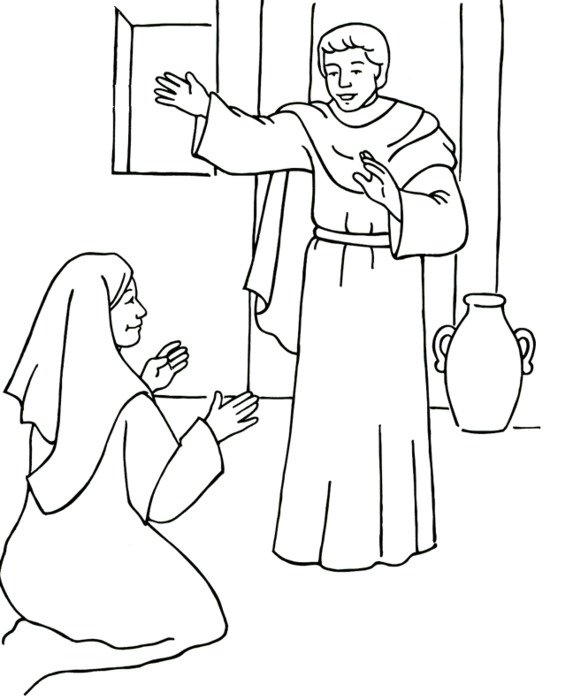 Angel Gabriel And Mary Coloring Page