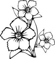Black and white drawing with the flowers and leaves clipart