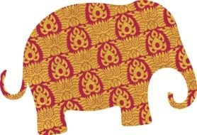 patterned silhouette of an elephant on the white background