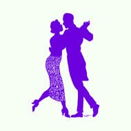 purple silhouette of a dancing couple