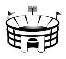 Black And White Drawing Of The Football Stadium Clipart