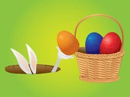 bunny and easter basket as a graphic illustration