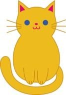 Cute Cartoon yellow Cat Clipart