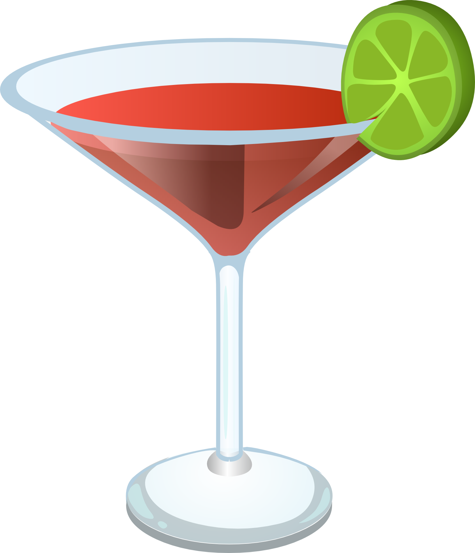 Red Cocktail In A Glass With Lime Drawing Free Image