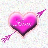 pink love heart with arrow