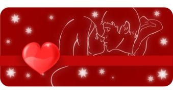 drawing of a kissing couple in love