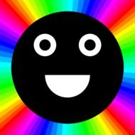 Picture of smiley against the rainbow