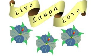 love, live, laugh, saying on banner above flowers